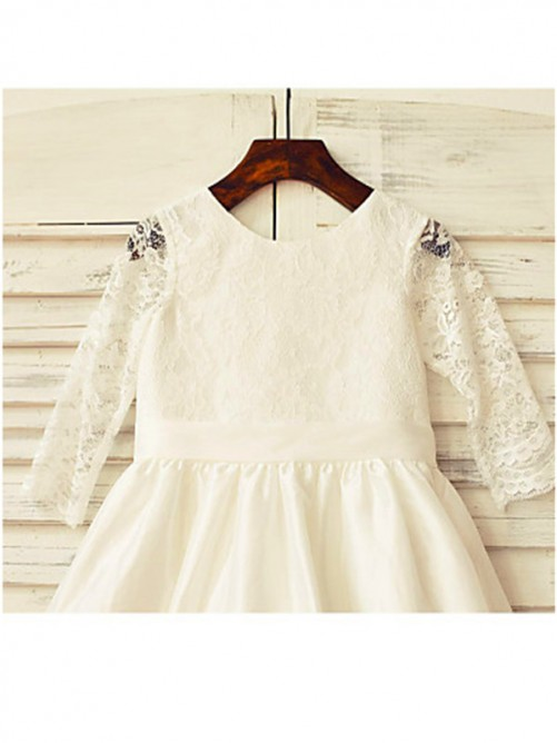 Jewel Long Sleeves Lace Tea-Length Satin Flower Girl Dress