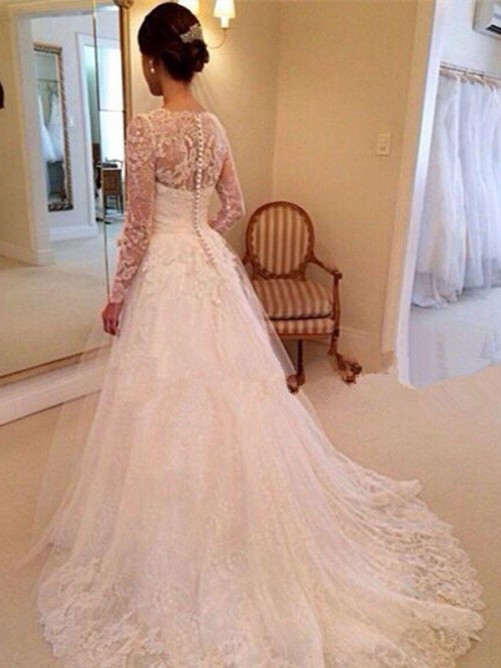 Ball Gown V-neck Long Sleeves Lace Court Train Tulle Wedding Dress