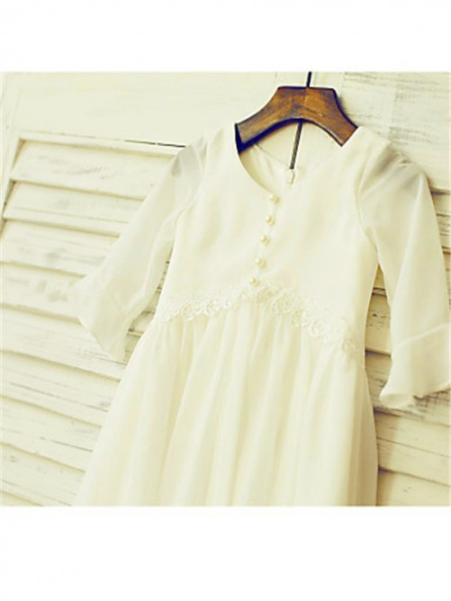 Scoop Long Sleeves Tea-length Chiffon Flower Girl Dress