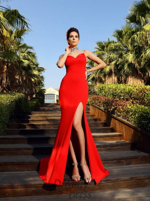 Sheath/Column High Neck Court Train Spandex Dress