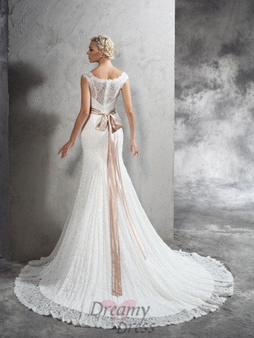 Sheath/Column Sash/Ribbon/Belt Court Train Lace Wedding Dress