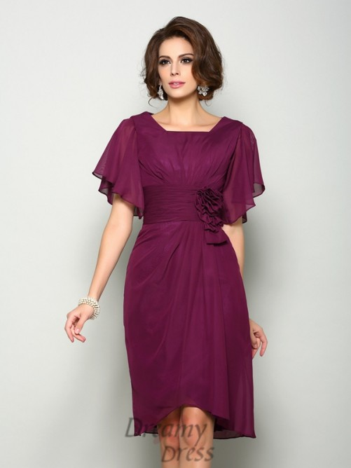 Short Sleeves Square Chiffon Knee-Length Mother of the Bride Dress