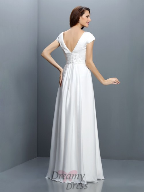 V-neck Short Sleeves Floor-Length Chiffon Bridesmaid Dress