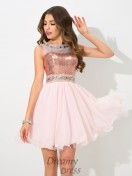 A-line Sequin Short Chiffon Cocktail Dress