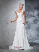 A-line Straps Chiffon Court Train Wedding Dress