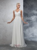 A-line V-neck Chiffon Court Train Wedding Dress