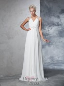 A-line V-neck Chiffon Ruched Sweep/Brush Train Wedding Dress