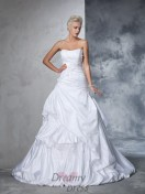 Ball Gown Strapless Satin Chapel Train Wedding Dress