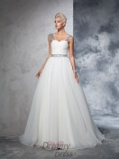 Ball Gown Straps Net Ruched Chapel Train Wedding Dress