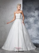 Ball Gown Sweetheart Net Chapel Train Wedding Dress