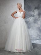 Ball Gown Sweetheart Tulle Ruched Sweep/Brush Train Wedding Dress