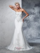 Mermaid Sweetheart Satin Court Train Wedding Dress