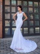 Mermaid V-neck Satin Chapel Train Wedding Dress
