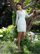 Sheath/Column Long Sleeves Satin Scoop Short Wedding Dress