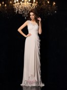 Trumpet/Mermaid Bateau Lace Sweep/Brush Train Chiffon Dress