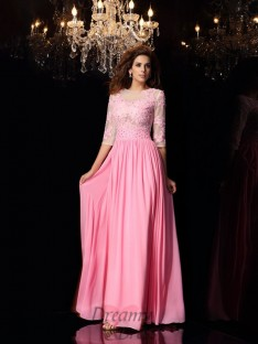 1/2 Sleeves Silk like Satin Scoop Floor-Length Dress