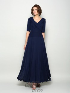 1/2 Sleeves V-neck Ankle-Length Chiffon Mother of the Bride Dress