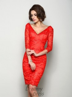 1/2 Sleeves V-neck Knee-Length Lace Mother of the Bride Dress