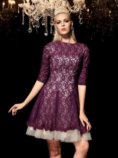 A-line 1/2 Sleeves Lace Short Lace Cocktail Dress