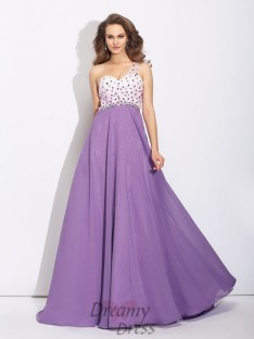 A-line One-Shoulder Crystal Sweep/Brush Train Chiffon Dress