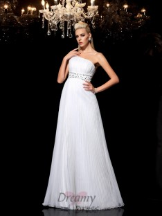 A-line One-Shoulder Floor-Length Organza Dress