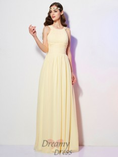 A-Line/Princess Bateau Pleats Floor-Length Chiffon Dress