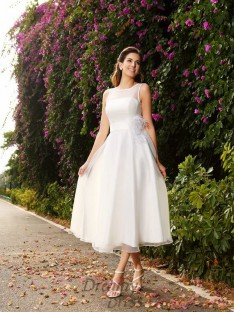 A-Line/Princess Bateau Satin Ankle-Length Wedding Dress