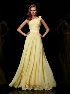A-Line/Princess Chiffon One-Shoulder Bridesmaid Dress