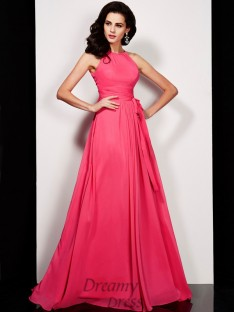 A-line/Princess Floor-length High Neck Pleats Sash/Ribbon/Belt Chiffon Dress