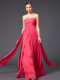 A-Line/Princess Floor-Length Sweetheart Chiffon Pleats Dress