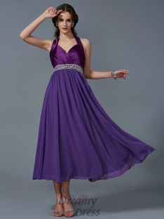 A-Line/Princess Halter Ankle-Length Chiffon Dress