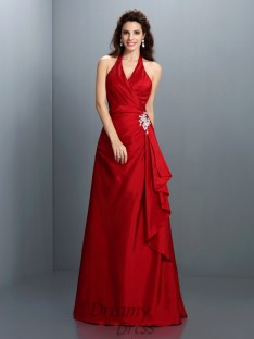 A-Line/Princess Halter Floor-Length Taffeta Dress