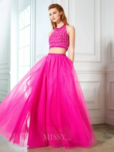 A-Line/Princess Halter Sleeveless Net Floor-Length Two Piece Dress