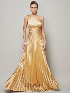 A-Line/Princess Hand-Made Flower One-Shoulder Floor-Length Elastic Woven Satin Dress