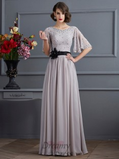 A-Line/Princess High Neck 1/2 Sleeves Chiffon Floor-Length Dress