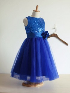 A-line/Princess Jewel Tulle Ankle-Length Flower Girl Dresses with Hand-made Flower