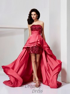 A-Line/Princess Lace Strapless Paillette Asymmetrical Dress