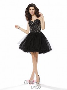 A-Line/Princess Net Sweetheart Short/Mini Dress