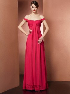 A-Line/Princess Off-the-Shoulder Pleats Floor-Length Chiffon Dress