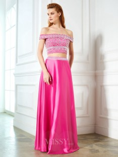 A-Line/Princess Off-the-Shoulder Sleeveless Satin Floor-Length Two Piece Dress