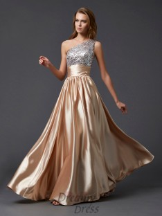 A-line/Princess One-shoulder Floor-length Paillette Elastic Woven Satin Dress