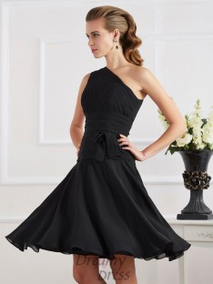 A-Line/Princess One-Shoulder Knee-length Chiffon Cocktail Dress