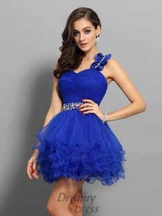 A-Line/Princess One-Shoulder Organza Short/Mini Dress