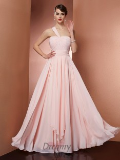 A-Line/Princess One-Shoulder Pleats Chiffon Floor-Length Dress
