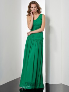 A-Line/Princess One-Shoulder Pleats Floor-Length Chiffon Dress