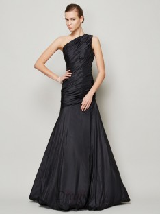 A-Line/Princess One-Shoulder Pleats Floor-Length Taffeta Dress
