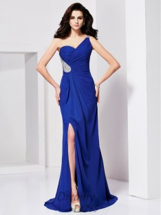 A-line/Princess One-shoulder Pleats Sweep/Brush Train Dress