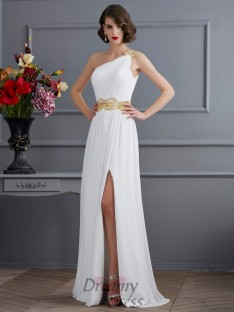 A-Line/Princess One-Shoulder Ruched Sweep/Brush Train Chiffon Dress