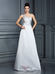 A-Line/Princess One-Shoulder Satin Long Dress