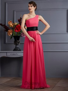 A-Line/Princess Pleats One-Shoulder Chiffon Sweep/Brush Train Dress